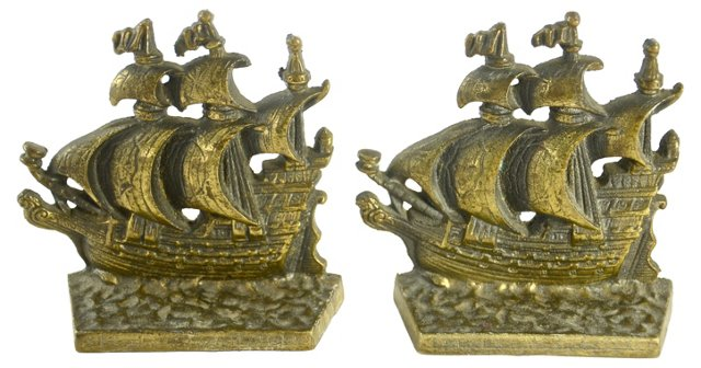Brass Sailing Ship Bookends