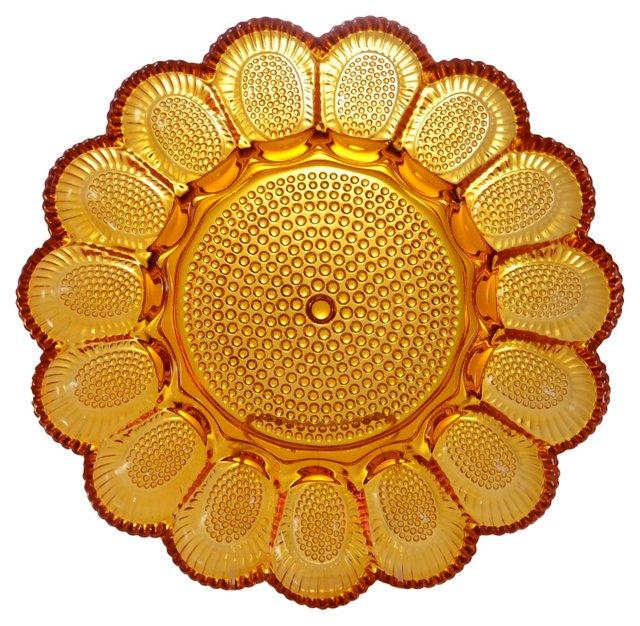 1940s Amber Glass Platter