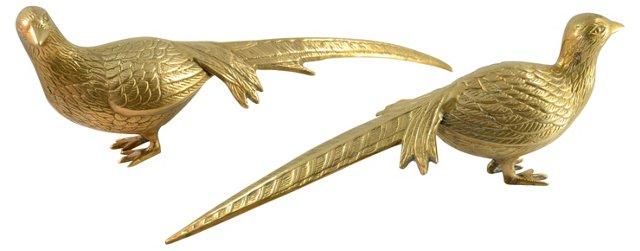 Golden Brass Pheasants, Pair