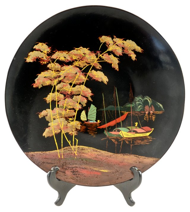 Hand-Painted Chinese Tray w/ Stand