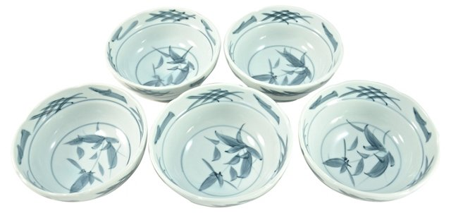 Blue & White Chinoiserie Bowls, S/5