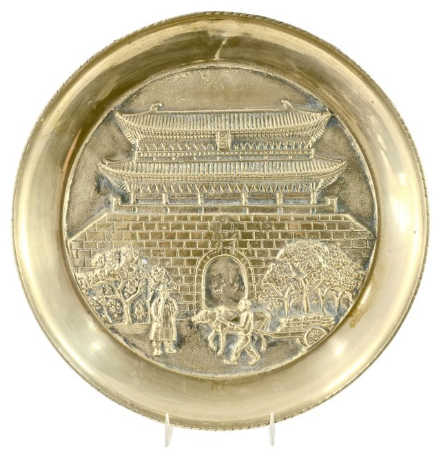 Brass Chinoiserie Plaque