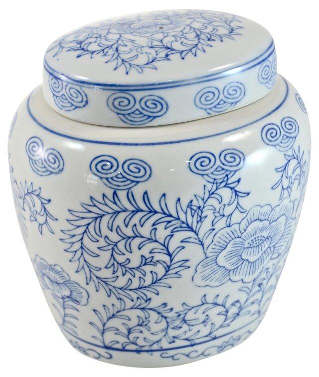 Blue & White Oval Ginger Jar