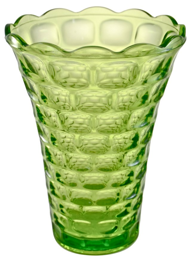 Green Optic Glass Vase