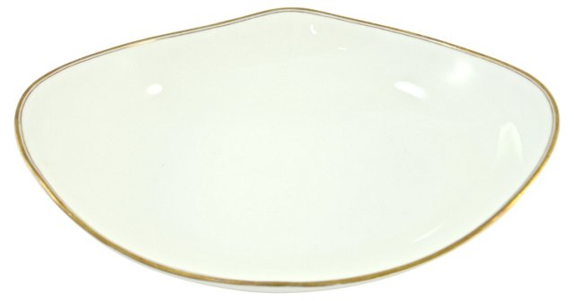 English Gold Rim Oval Bowl
