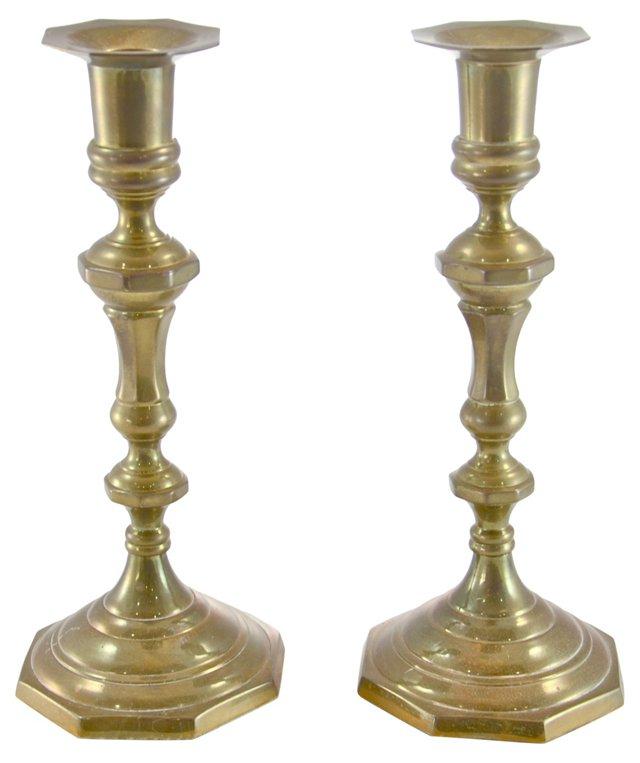 Brass Octagonal Candlesticks, Pair
