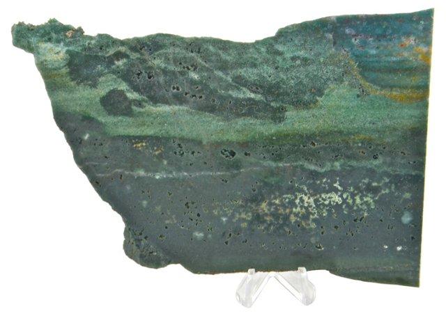 Green Jasper Slice w/ Stand
