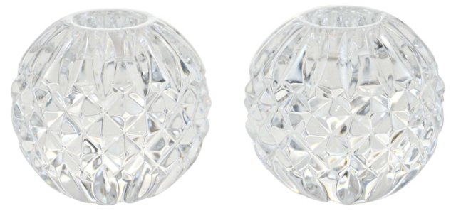 Crystal Ball Candleholders, Pair