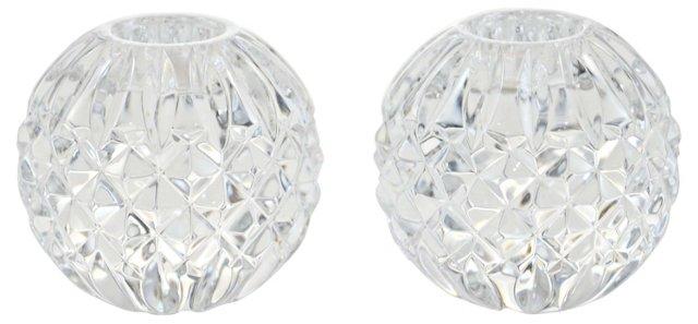 Crystal Ball Candleholders, Pair