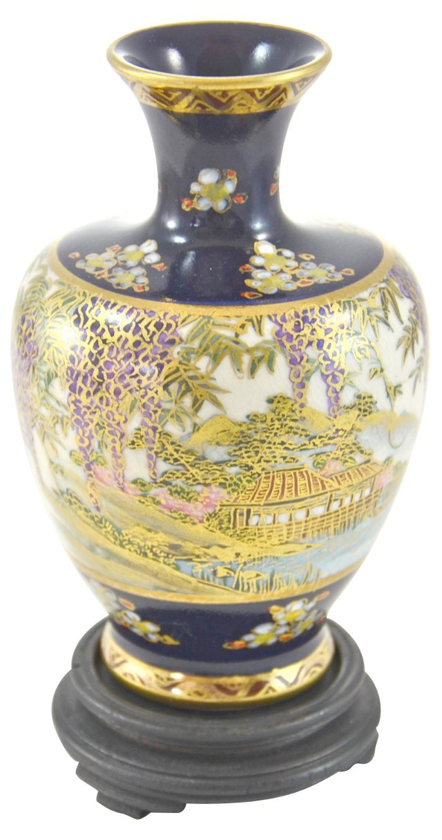 Blue & Gold Chinese Vase w/ Stand