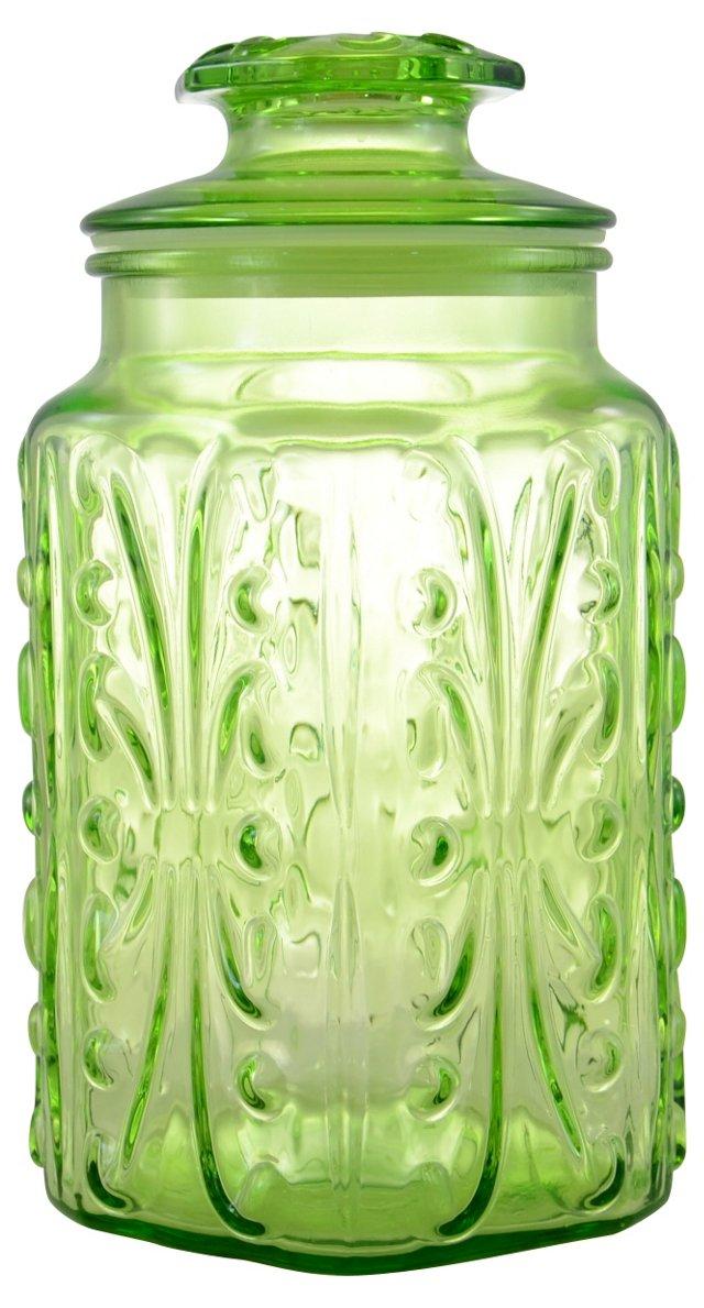Octagonal Green Glass Jar