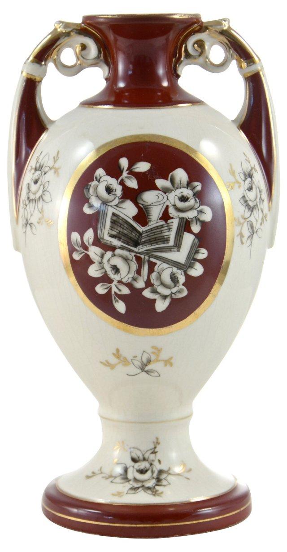 Burgundy & Gold Vase