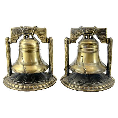 Brass Liberty Bell Bookends