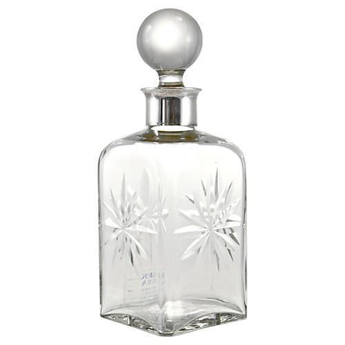 Gulotta Silver Neck Cut-Glass Bottle
