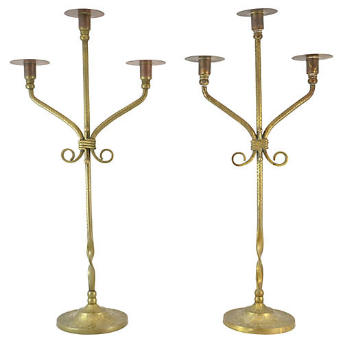 Antique Twisted Brass Candelabra, Pair