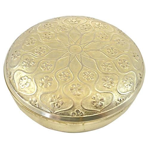 Round Arabesque Brass Box