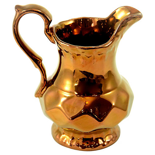 English Copper Luster Pitcher