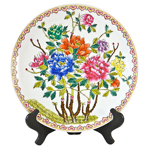 Chinese Floral Charger w/ Stand
