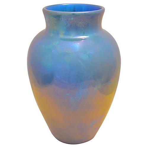 1920s Aqua St. Lukas Lusterware Vase