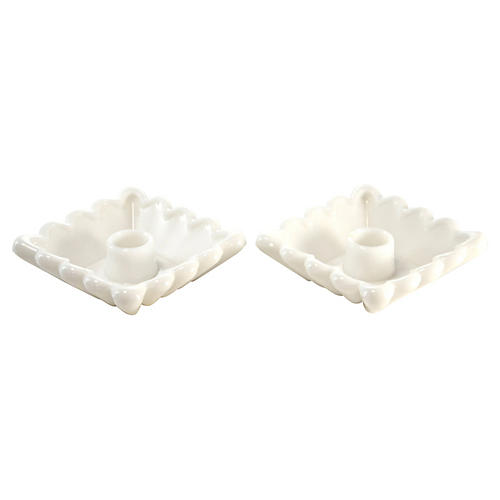 Square White Candleholders, Pair