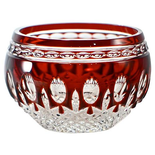 Ruby Red Cut Crystal Bowl