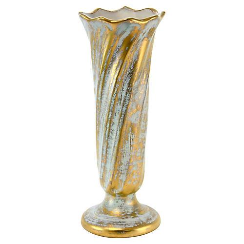 Aqua & Gold Stangl Vase