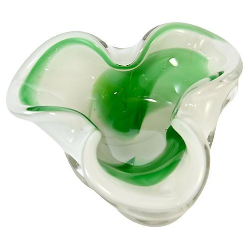 Green Swirl Murano Art Glass Bowl