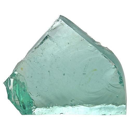 Aqua Slag Glass Wedge Slab
