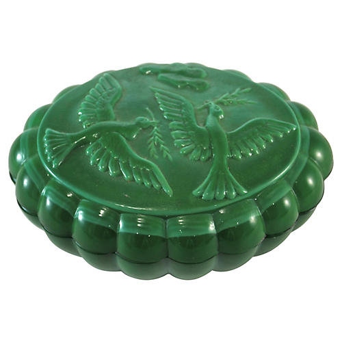 Green Glass Peace Dove Box