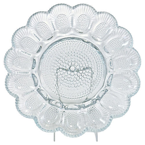 1940s Blue Hobnail Hors d'Oeuvres Tray