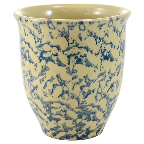 Roseville Blue Spongeware Catchall