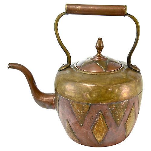 Antique Moroccan Copper & Brass Teapot