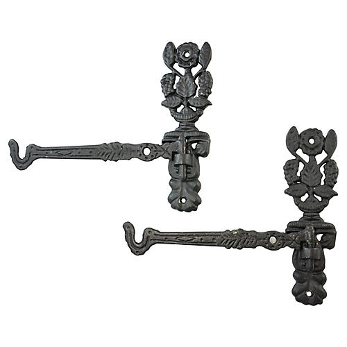 Cast Iron-Style Plant Hangers, Pair