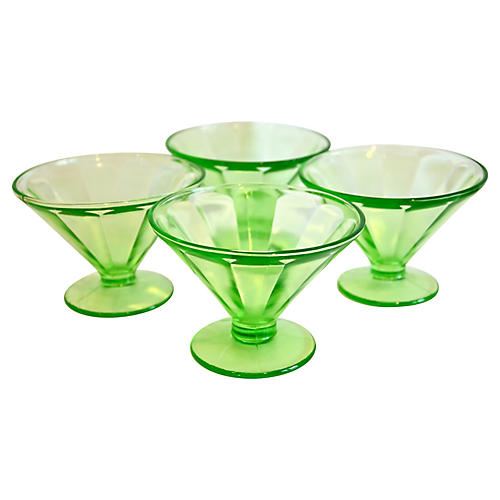 Green Glass Dessert Coupes, S/4