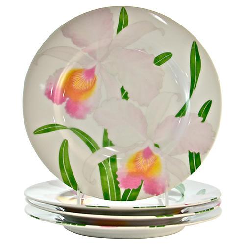 Pink Orchid Porcelain Plates, S/4
