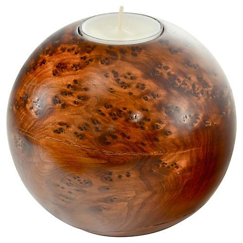 Bird's Eye Maple Sphere Candleholder