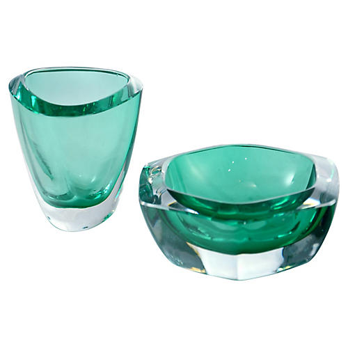 Aqua-Green Art Glass Catchalls, Pair