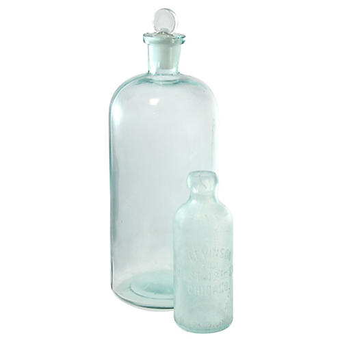 Antique Aqua Apothecary Bottles, Pair
