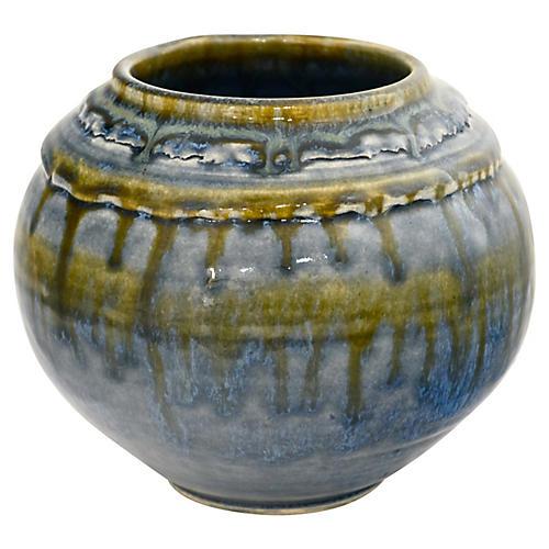 Blue Studio Art Ball Vase