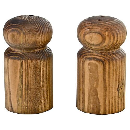 Turned Wood Salt & Pepper Shakers