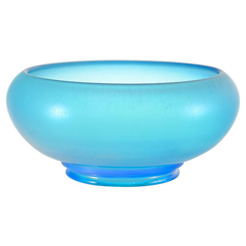 Blue Iridescent Satin Glass Bowl