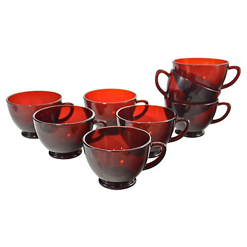 Scarlet Red Glass Cups, S/8