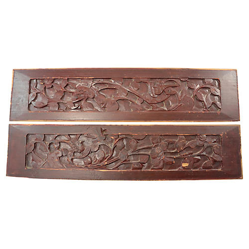 Chinese Hand Carved Elm Panels, Pair