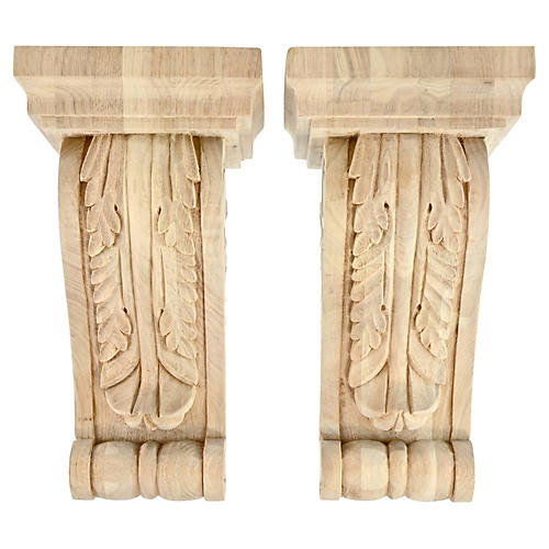 Carved Acanthus Maple Corbels, Pair