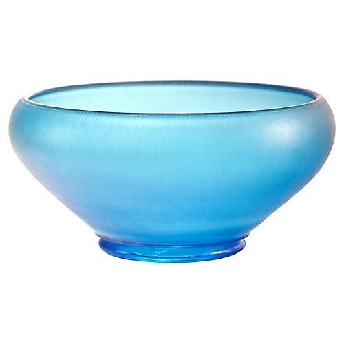 Aqua Iridescent Satin Glass Bowl