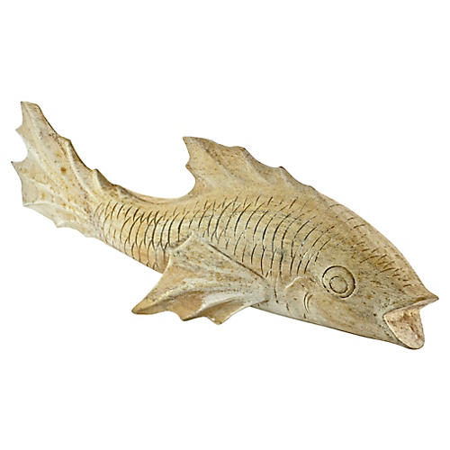 "Carved 16"" Wood Fish"