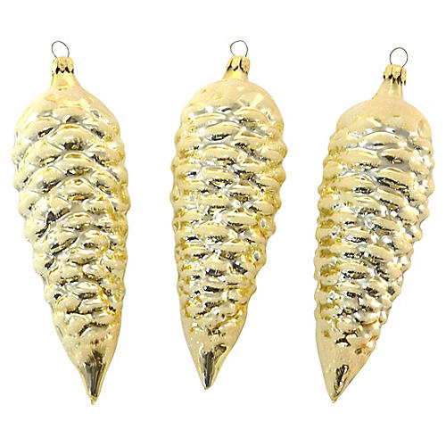 "Gold West German Glass 7"" Pinecones, S/3"