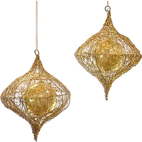 Gold Glitter Caged Ornaments, Pair