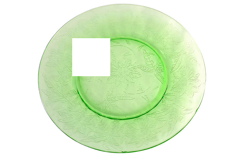 Green Glass Poinsettia Plates, S/5