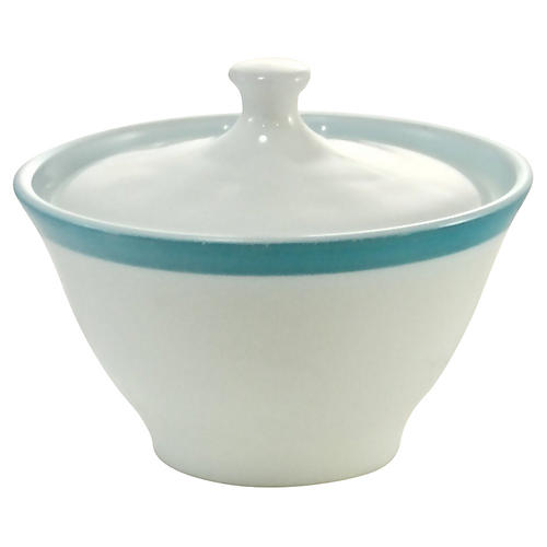 1950s Pyrex Aqua-Rim Sugar Bowl
